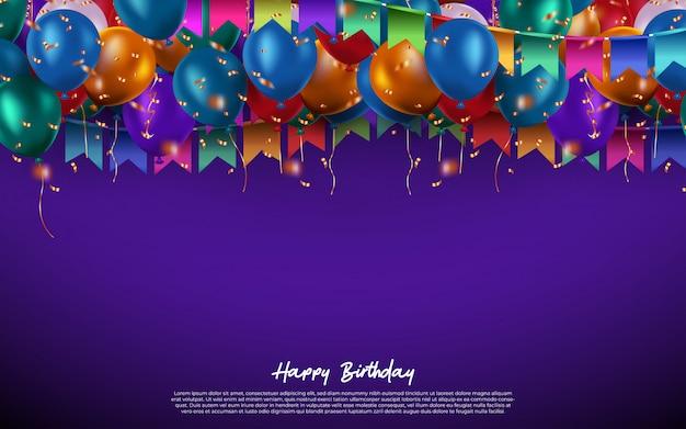 Feliz cumpleaños con globos de colores y confeti y espacio para texto para celebración de cumpleaños. .