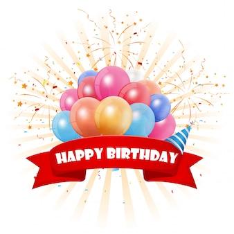 Feliz cumpleaños con globos coloridos y confeti