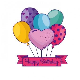 Feliz cumpleaños con globos y decoración de la cinta