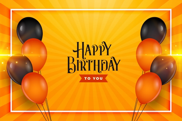 Feliz cumpleaños globos desea diseño de fondo de la tarjeta
