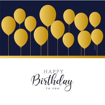 Feliz cumpleaños globos dorados fondo