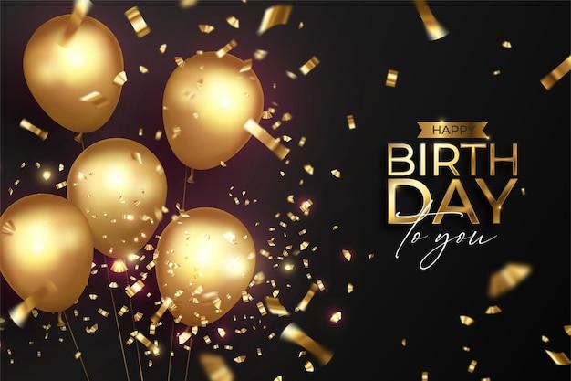 Feliz cumpleaños con globos dorados realistas