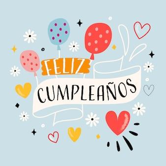 Feliz cumpleaños globos y flores letras