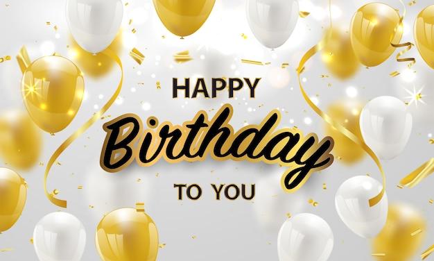 Feliz cumpleaños globos fondo de celebración de oro con confeti.