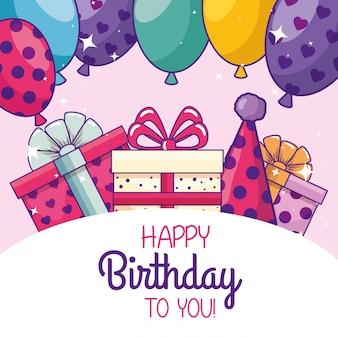 Feliz cumpleaños con globos y gorro de fiesta