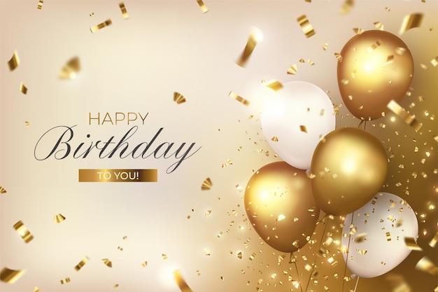 Feliz cumpleaños con globos de lujo y confeti.