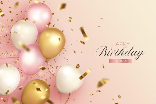 Feliz cumpleaños con globos realistas en colores suaves