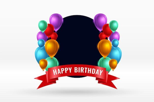Feliz cumpleaños globos realistas y fondo de cinta