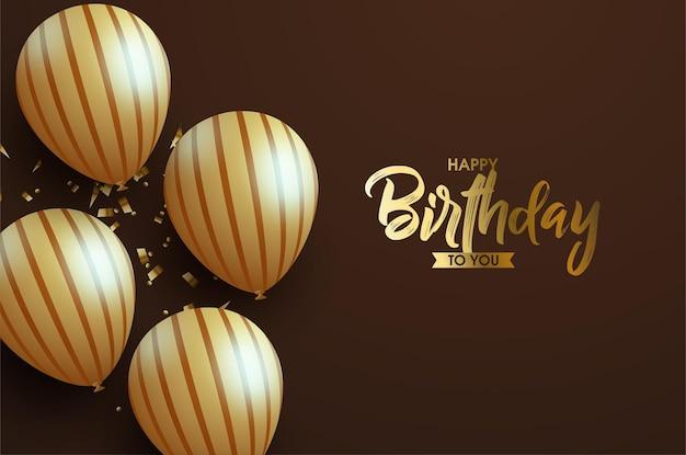 Feliz cumpleaños con globos y texto dorado brillante