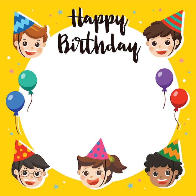 Feliz cumpleaños. hermosos niños saludando personaje divertido y plantilla de tarjeta de invitación de fiesta de cumpleaños. tarjeta de ilustración