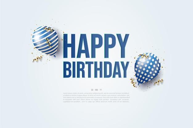 Feliz cumpleaños con la ilustración de dos globos alrededor de la escritura.