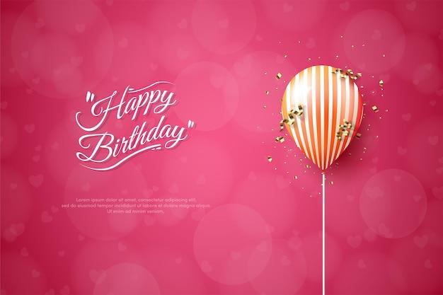 Feliz cumpleaños con ilustración de globo naranja sobre fondo rojo.