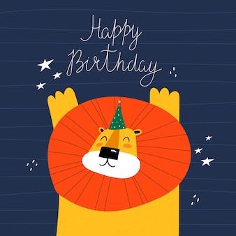 Feliz cumpleaños. ilustración con león de dibujos animados.