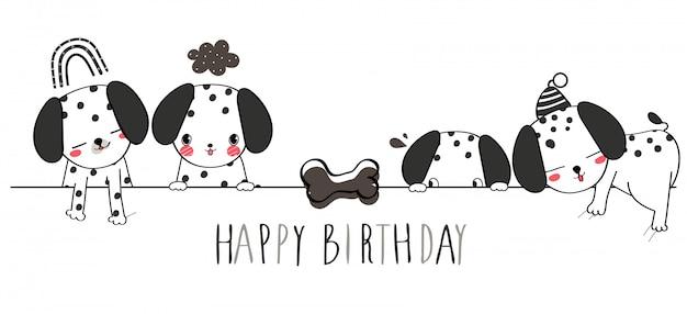 Feliz cumpleaños. ilustración linda del saludo del perro dálmata