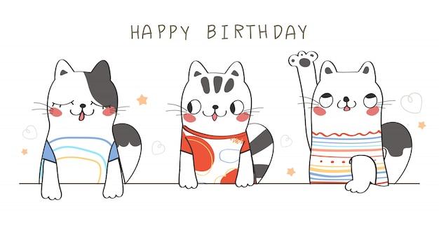 Feliz cumpleaños. ilustración de saludo lindo gato