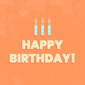 Feliz cumpleaños ilustración de tipografía de fuente de bastón de caramelo