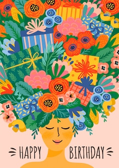 Feliz cumpleaños. ilustración de vector de linda dama con ramo de flores y cajas de regalo en la cabeza