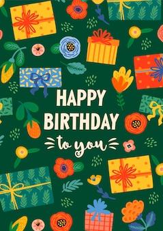 Feliz cumpleaños. ilustración de vector con lindas cajas de regalo y flores.