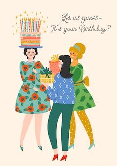 Feliz cumpleaños. ilustración de vector de mujeres lindas.