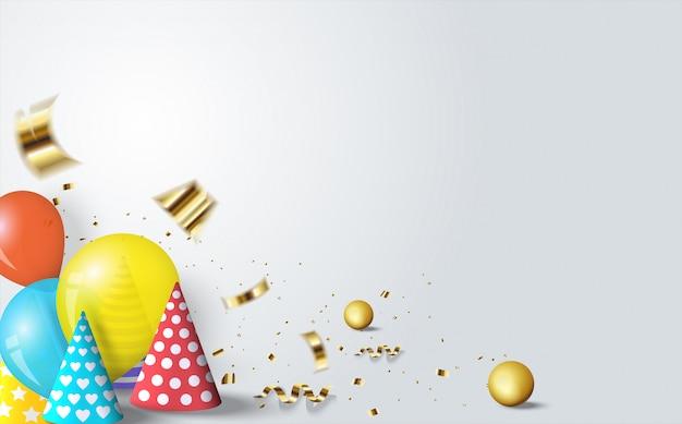 Feliz cumpleaños con ilustraciones de sombreros de cumpleaños y globos de colores en blanco azulado