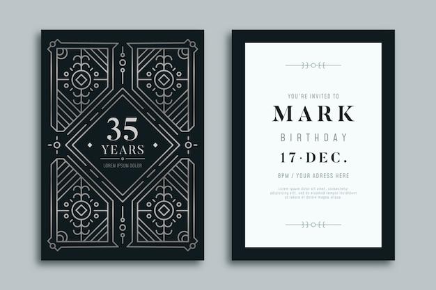 Feliz cumpleaños invitación diseño de lujo
