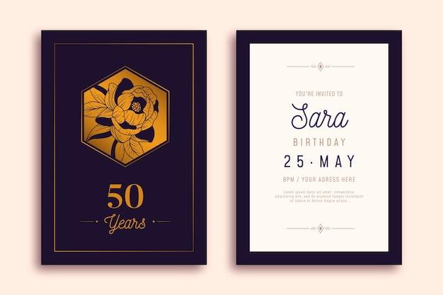 Feliz cumpleaños invitación elegante diseño