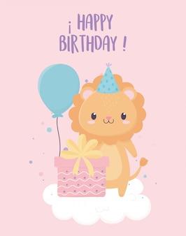 Feliz cumpleaños león con globos de regalo de sombrero de fiesta en decoración de celebración de nube
