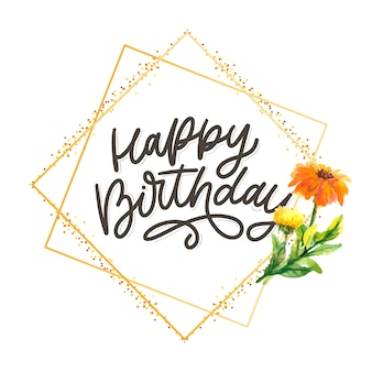 Feliz cumpleaños letras caligrafía lema flores ilustración texto