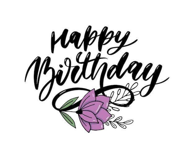 Feliz cumpleaños letras caligrafía pincel degradado pegatina vector