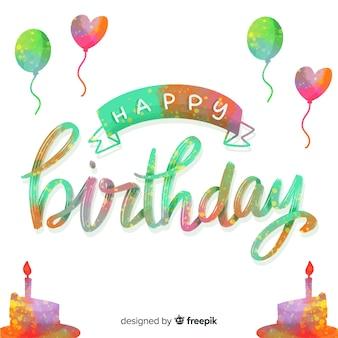 Feliz cumpleaños letras coloridas con globos