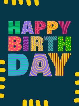 Feliz cumpleaños letras de dibujos animados infantiles para el diseño de postales, pegatinas, sellos