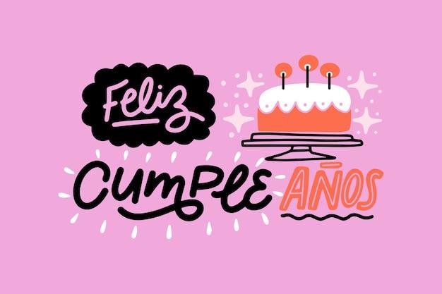 Feliz cumpleaños letras estilo plano