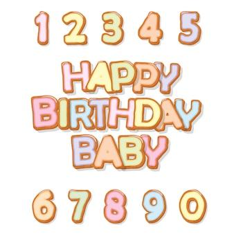 Feliz cumpleaños. letras y números dibujados a mano dibujos animados de galletas.