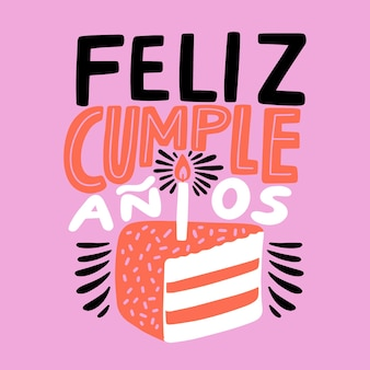 Feliz cumpleaños letras pastel ilustración