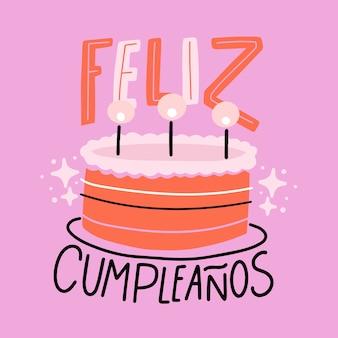 Feliz cumpleaños letras pastel plano