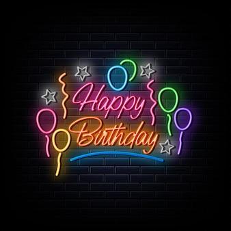 Feliz cumpleaños letrero de neón símbolo de neón