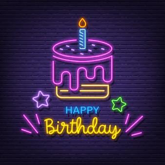 Feliz cumpleaños letrero de neón