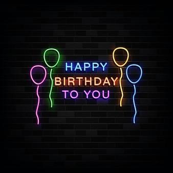 Feliz cumpleaños letreros de neón. plantilla de diseño estilo neón