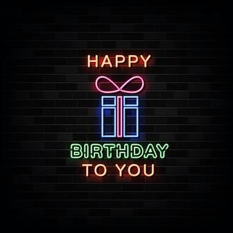 Feliz cumpleaños letreros de neón plantilla de diseño letrero de neón