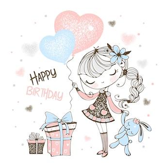 Feliz cumpleaños. linda chica con globos, regalos y conejito de juguete.