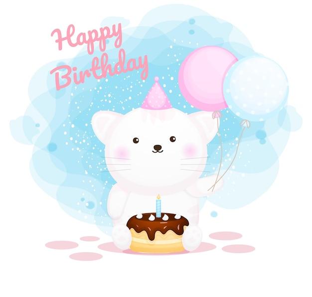 Feliz cumpleaños, lindo, gatito, caricatura