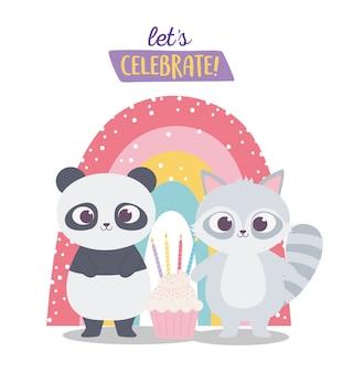 Feliz cumpleaños, lindo mapache y panda con dibujos animados de decoración de celebración de cupcake y arcoiris