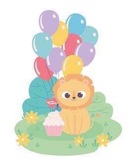 Feliz cumpleaños, lindo pequeño león con globos de sombrero de fiesta y dibujos animados de decoración de celebración de cupcake