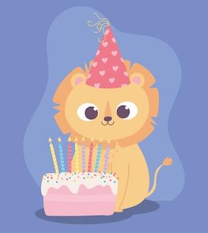 Feliz cumpleaños, lindo pequeño león con sombrero y pastel de dibujos animados de decoración de celebración
