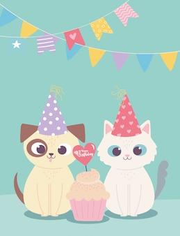 Feliz cumpleaños, lindo perro y gato con gorro de fiesta y cupcake, dibujos animados de decoración de celebración