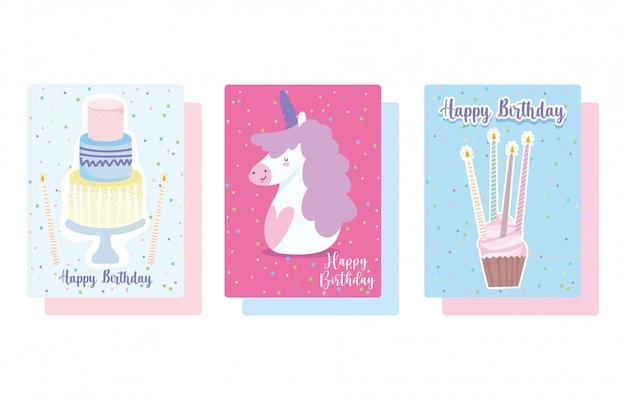 Feliz cumpleaños, lindo unicornio cupcake y pastel con velas tarjeta de decoración de celebración de dibujos animados