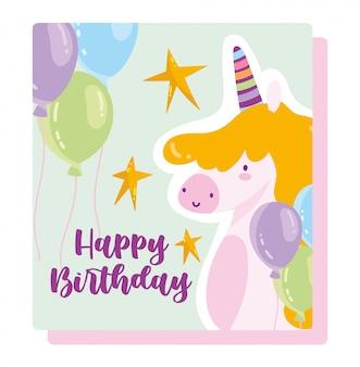 Feliz cumpleaños, lindo unicornio globos estrellas dibujos animados celebración decoración tarjeta