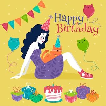 Feliz cumpleaños mujer y gatos