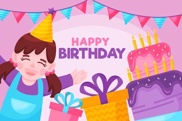 Feliz cumpleaños niña sonriendo