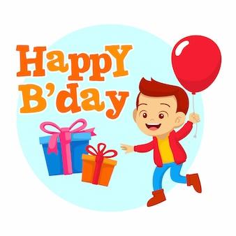 Feliz cumpleaños con niño feliz y globo ilustración plana